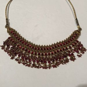 Beautiful Red Jeweled Necklace!